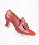 Royal Vintage Burgundy Red Leather Bow Maria Pumps