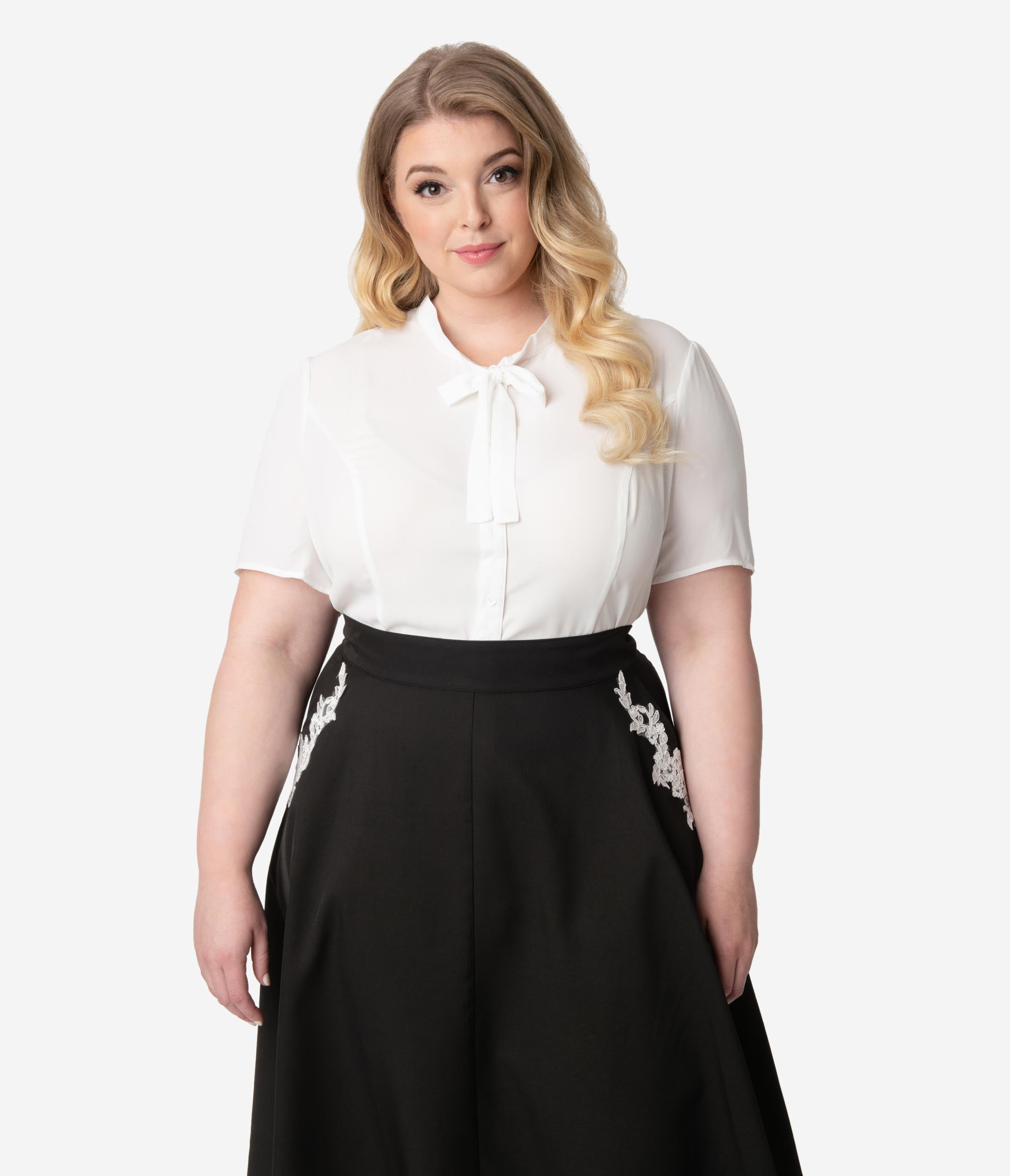 1940s Blouses and Tops Unique Vintage Plus Size 1940S Style White Elsie Blouse $48.00 AT vintagedancer.com