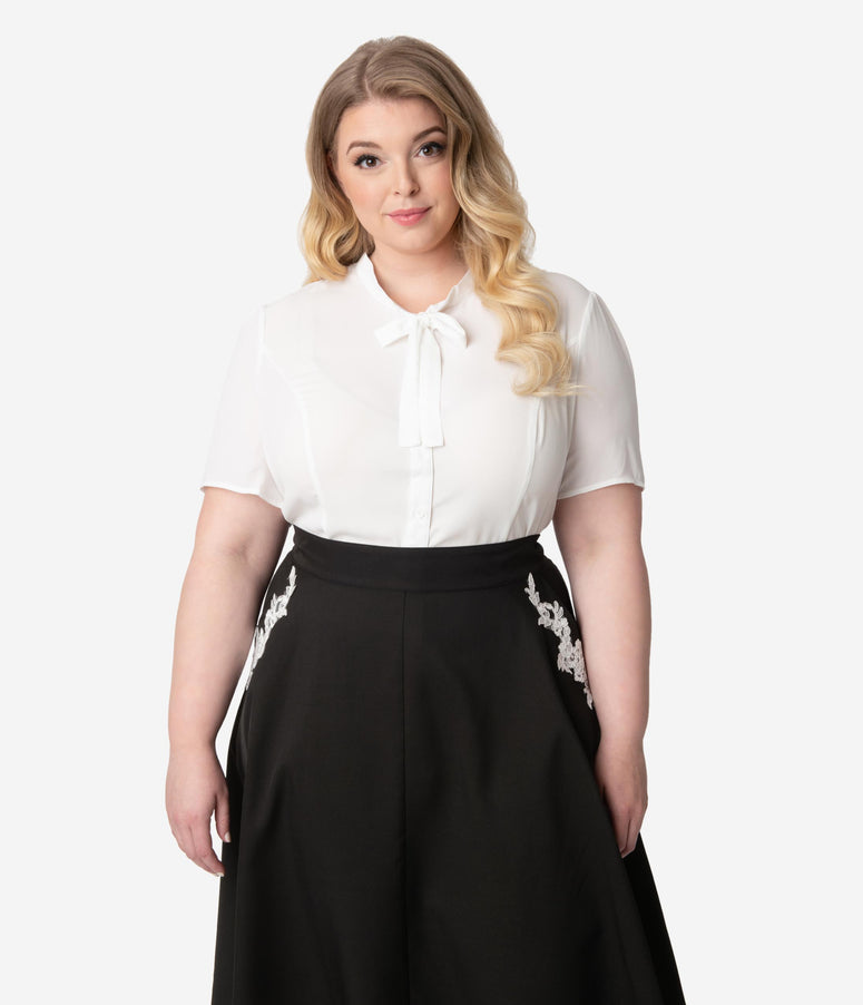 Unique Vintage Plus Size 1940s Style White Elsie Blouse