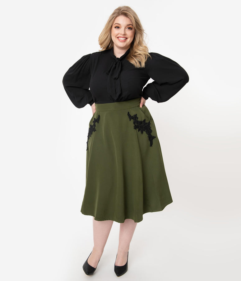 Unique Vintage Plus Size 1950s Olive Embroidered Steffi Swing Skirt