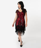 Unique Vintage 1920s Red & Black Beaded Noele Flapper Dress