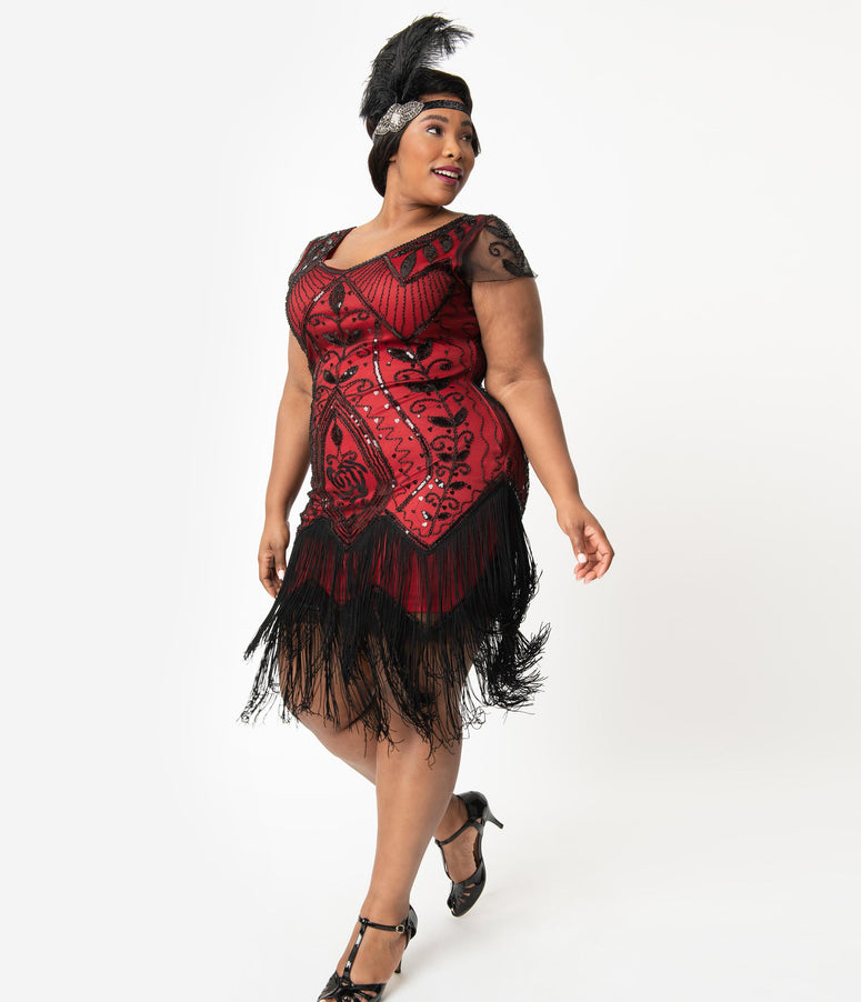 Unique Vintage Plus Size 1920s Red & Black Beaded Noele Flapper Dress