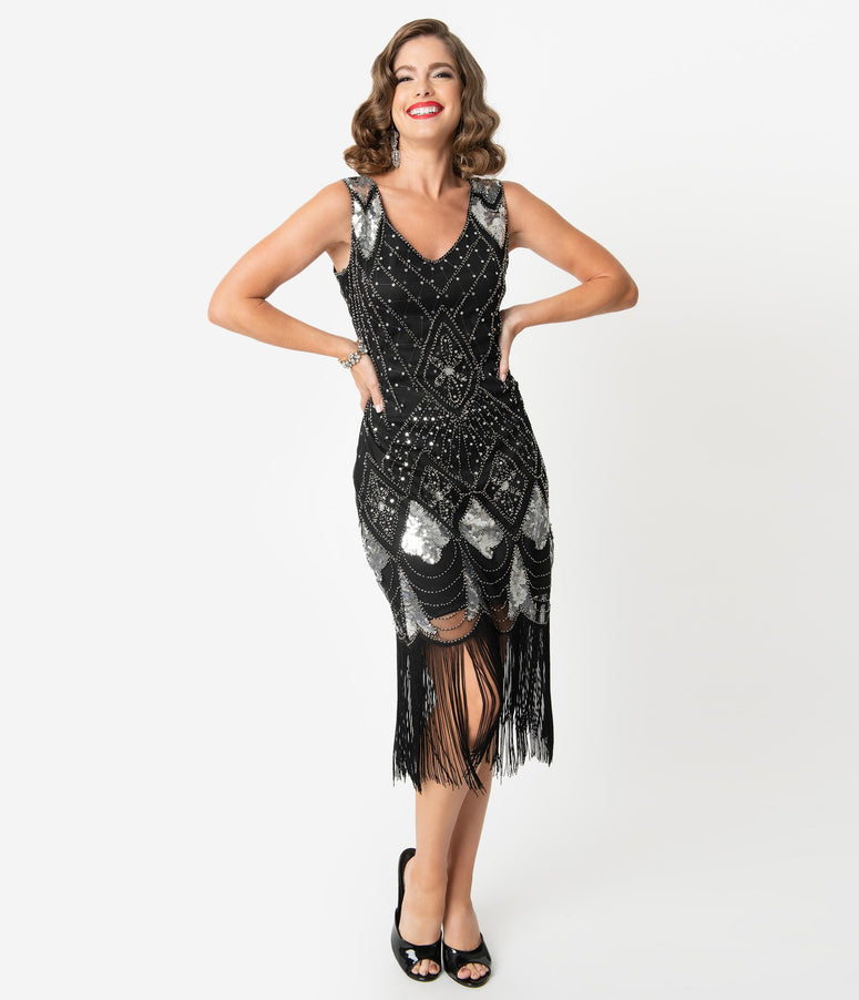 Unique Vintage Black & Silver Sequin Lina Fringe Flapper Dress