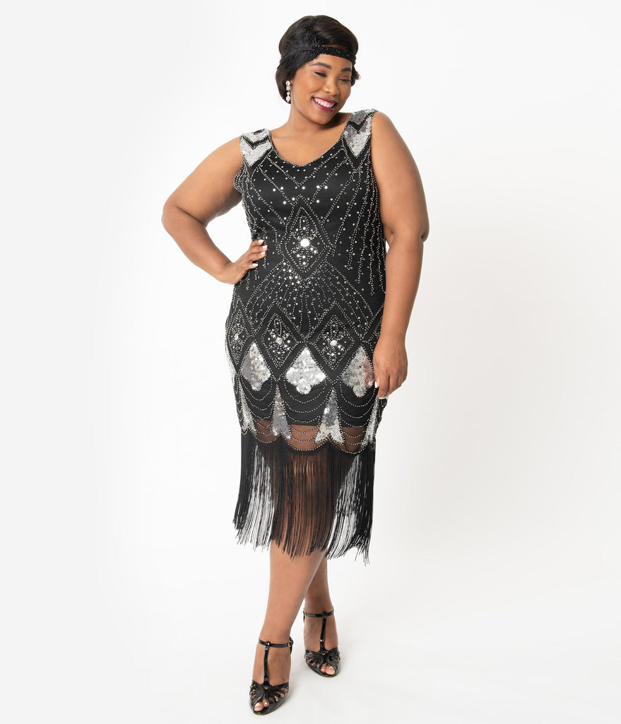 Unique Vintage Plus Size Black & Silver Sequin Lina Fringe Flapper Dress
