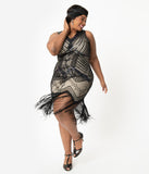Unique Vintage Plus Size 1920s Deco Beige & Black Sequin Veronique Flapper Dress