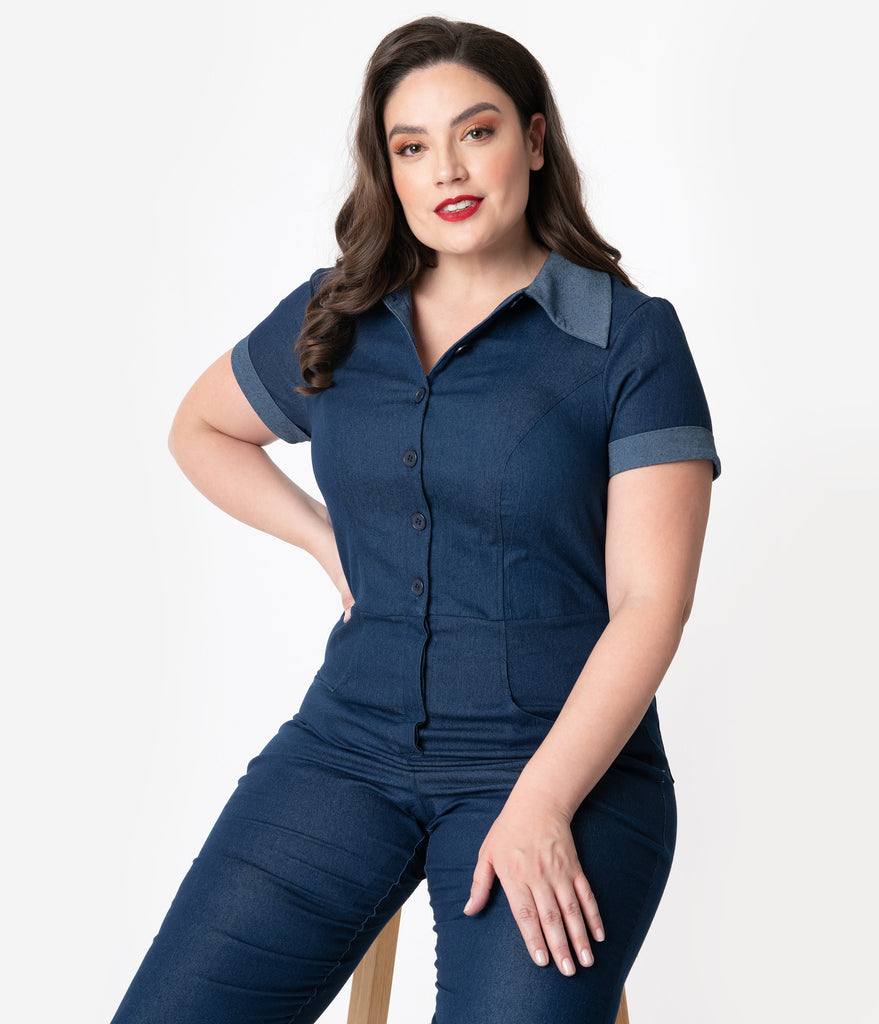 Unique Vintage Plus Size 1940s Blue Denim Claire Coverall