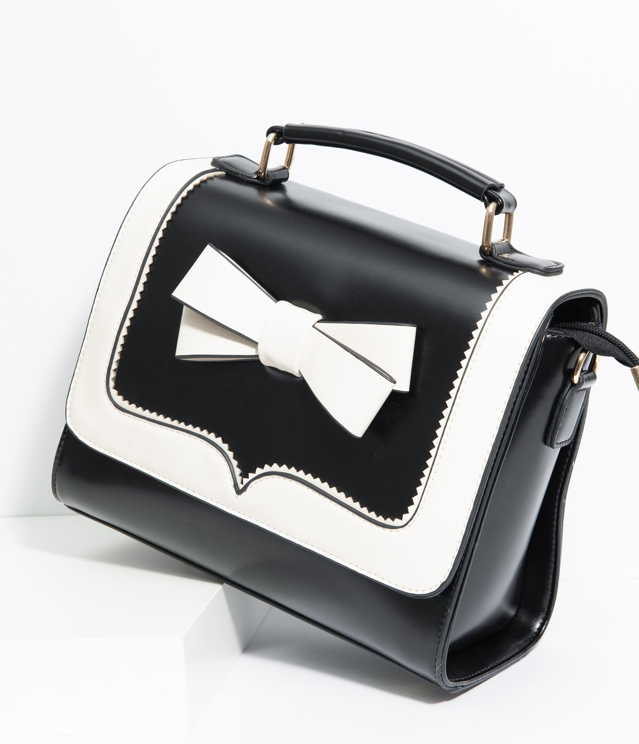 1950s Handbags, Purses, and Evening Bag Styles Black  White Bow Leatherette Purse $58.00 AT vintagedancer.com
