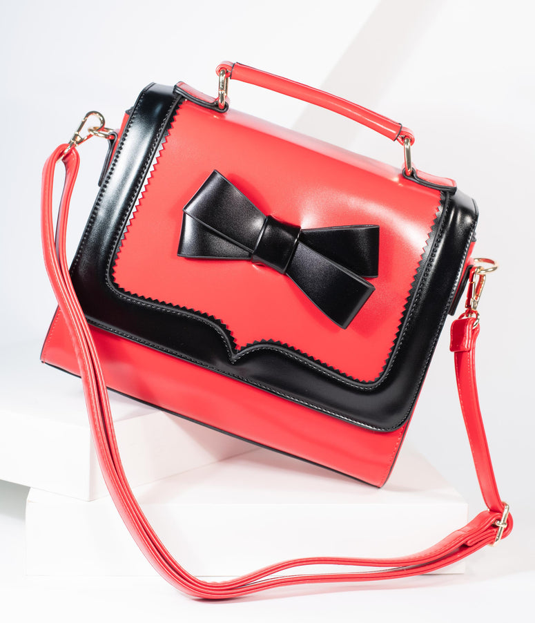 Red & Black Bow Leatherette Purse