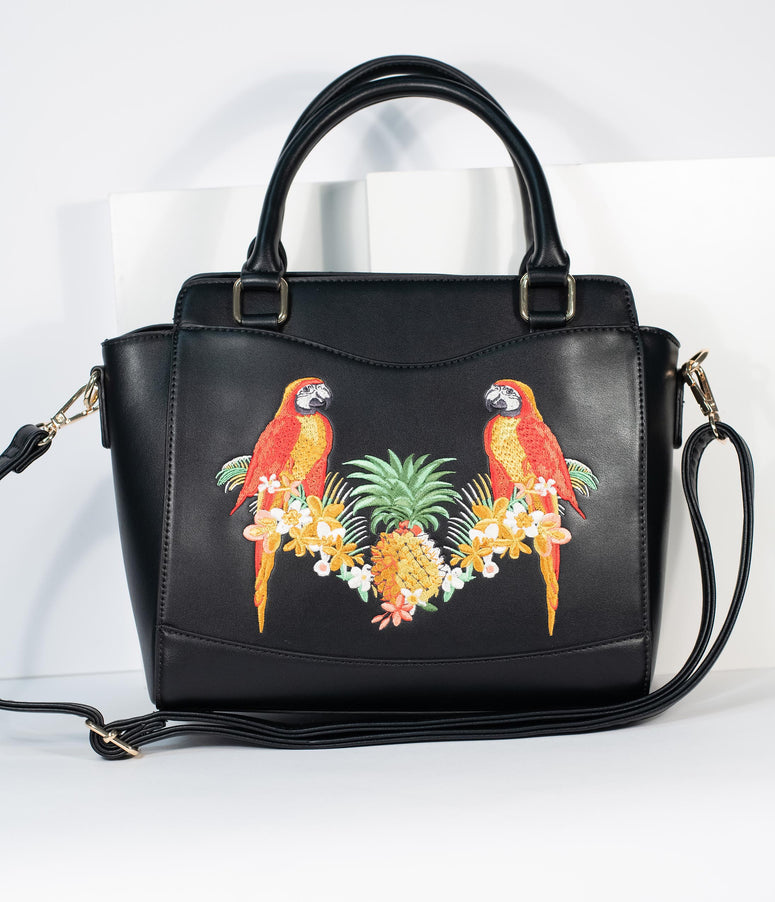 Black Embroidered Parrot Leatherette Purse