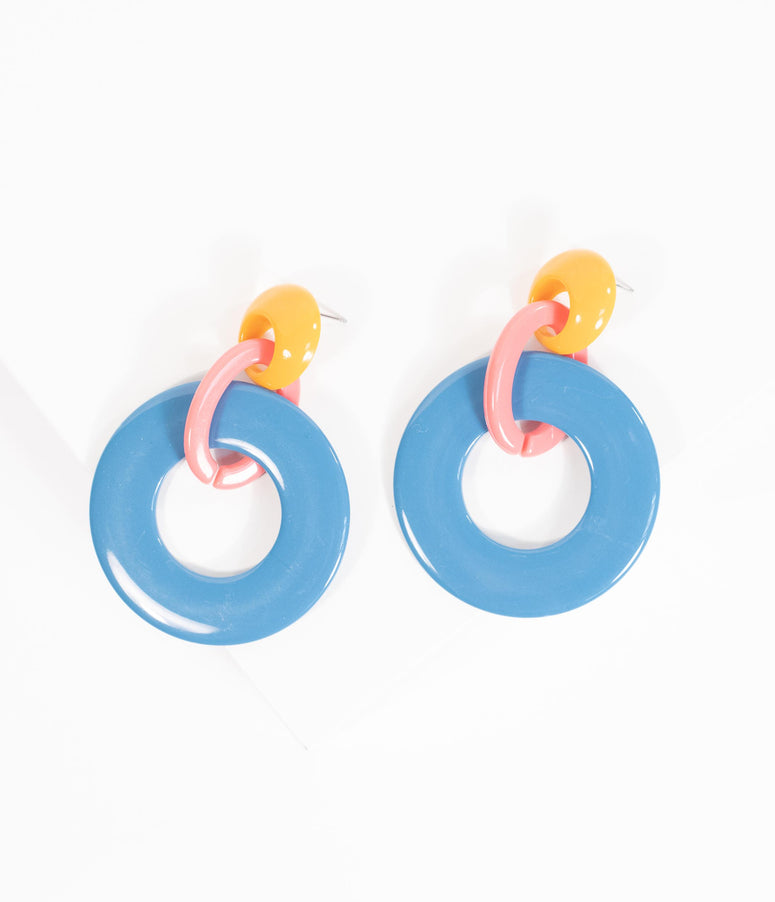 Retro Style Blue & Yellow Hoop Drop Earrings