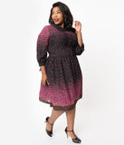 Unique Vintage Plus Size 1950s Black & Purple Floral Border Meredith Swing Dress