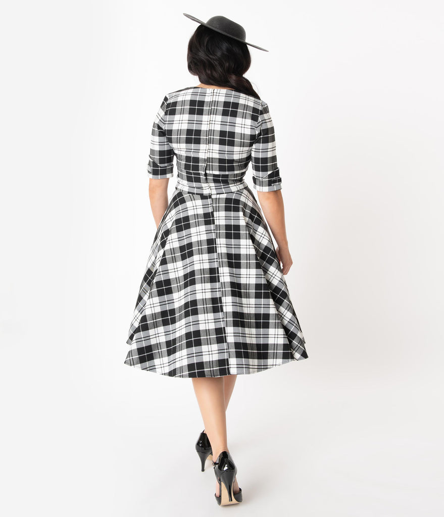 Unique Vintage 1950s Style Black & White Plaid Delores Swing Dress with Sleeves