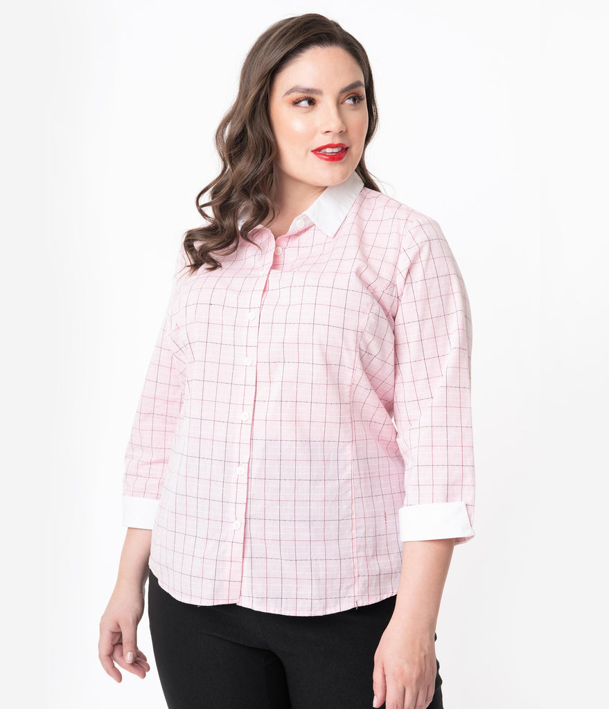 Unique Vintage Plus Size 1950s Light Pink Windowpane Birdie Blouse