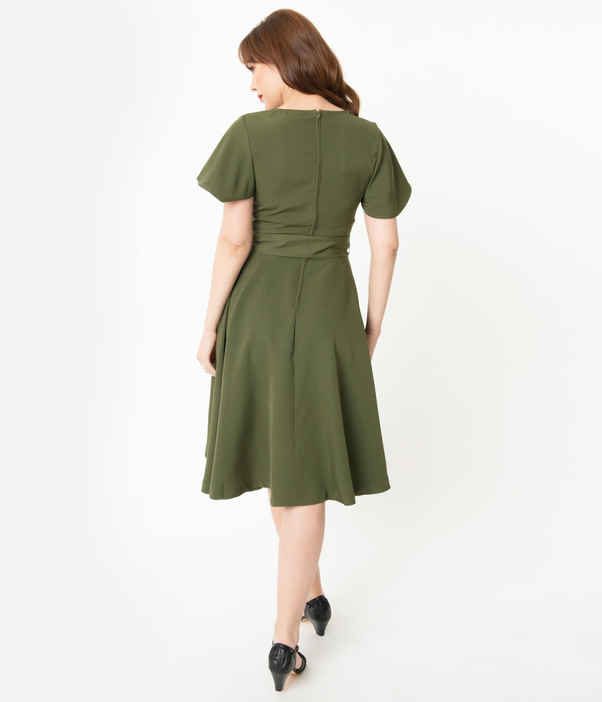 Unique Vintage 1940s Olive & Black Embroidered Kay Swing Dress