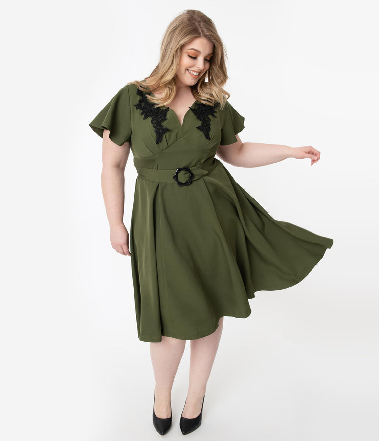 Unique Vintage Plus Size 1940s Olive & Black Embroidered Kay Swing Dress
