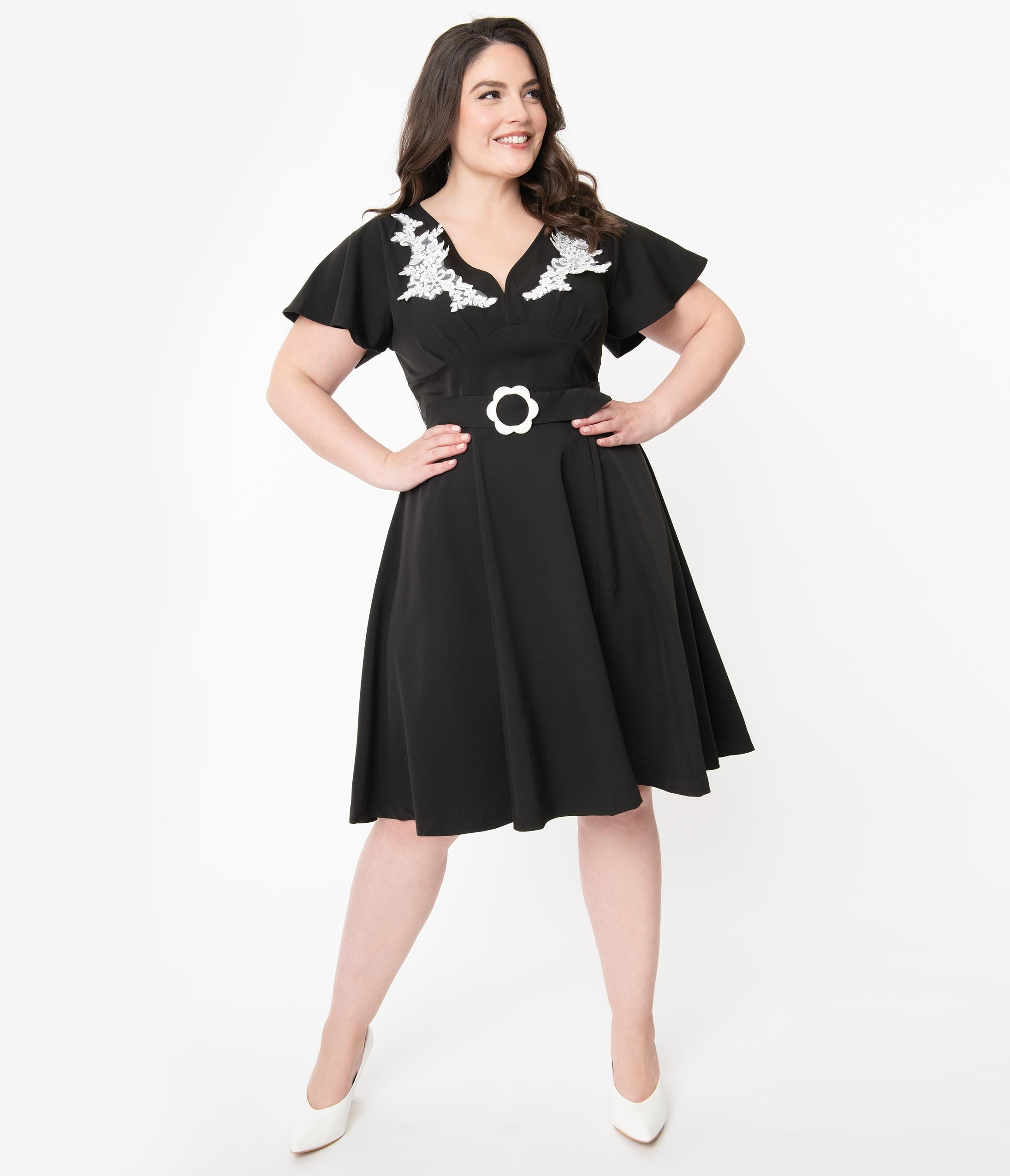 1940s Plus Size Dresses | Swing Dress, Tea Dress Unique Vintage Plus Size 1940S Black  Ivory Embroidered Kay Swing Dress $78.00 AT vintagedancer.com