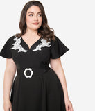 Unique Vintage Plus Size 1940s Black & Ivory Embroidered Kay Swing Dress