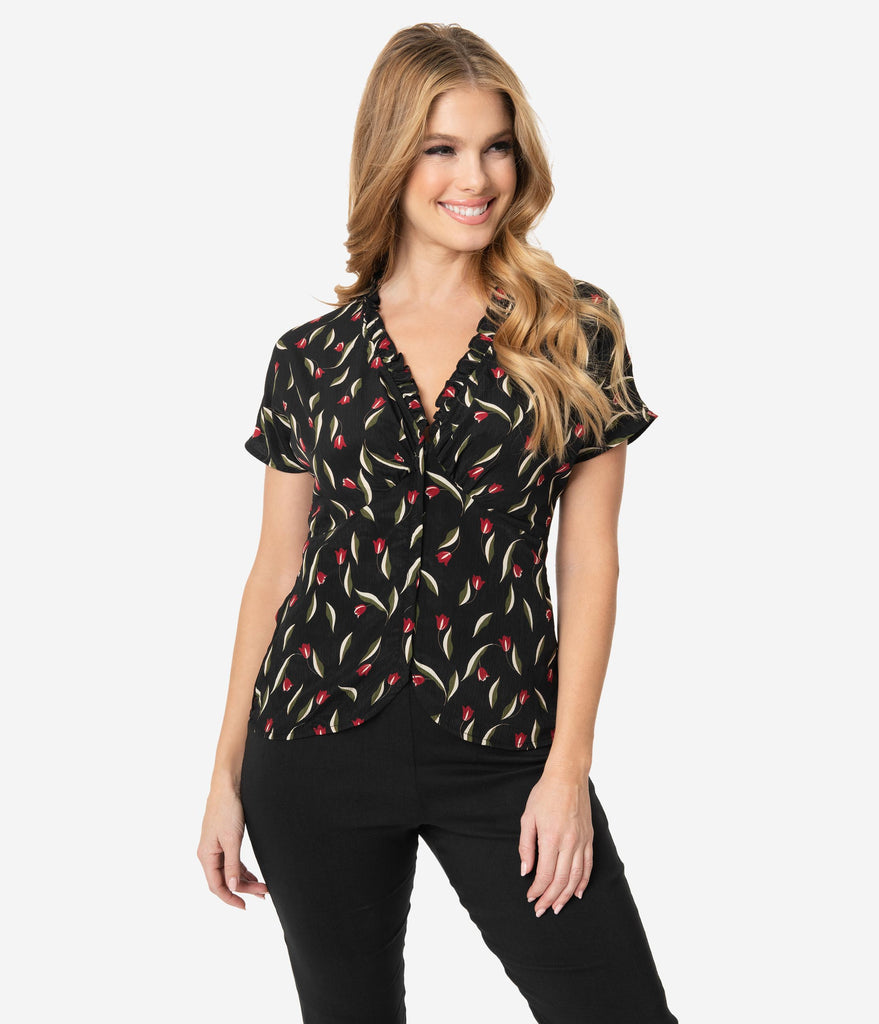 Unique Vintage Black & Red Floral Geraldine Blouse