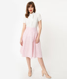 Unique Vintage Retro Pink Checkered Vivien Swing Skirt