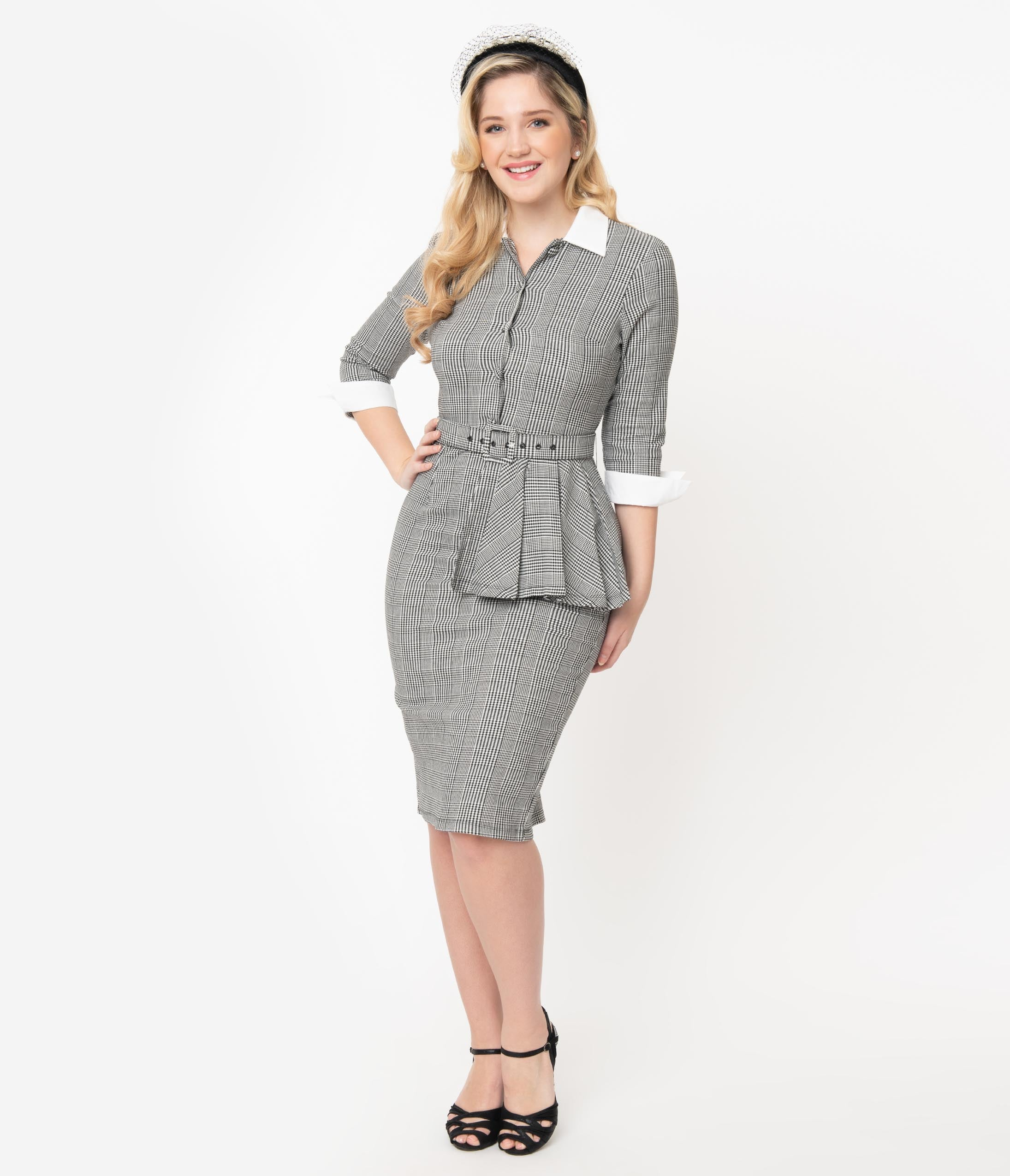 What Did Women Wear in the 1950s? 1950s Fashion Guide I Love Lucy X Unique Vintage Houndstooth Tv Star Pencil Dress $98.00 AT vintagedancer.com