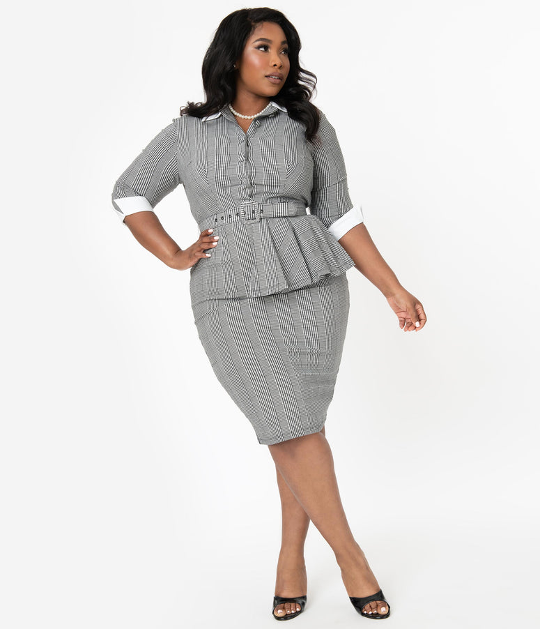 I Love Lucy x Unique Vintage Plus Size Houndstooth TV Star Pencil Dress