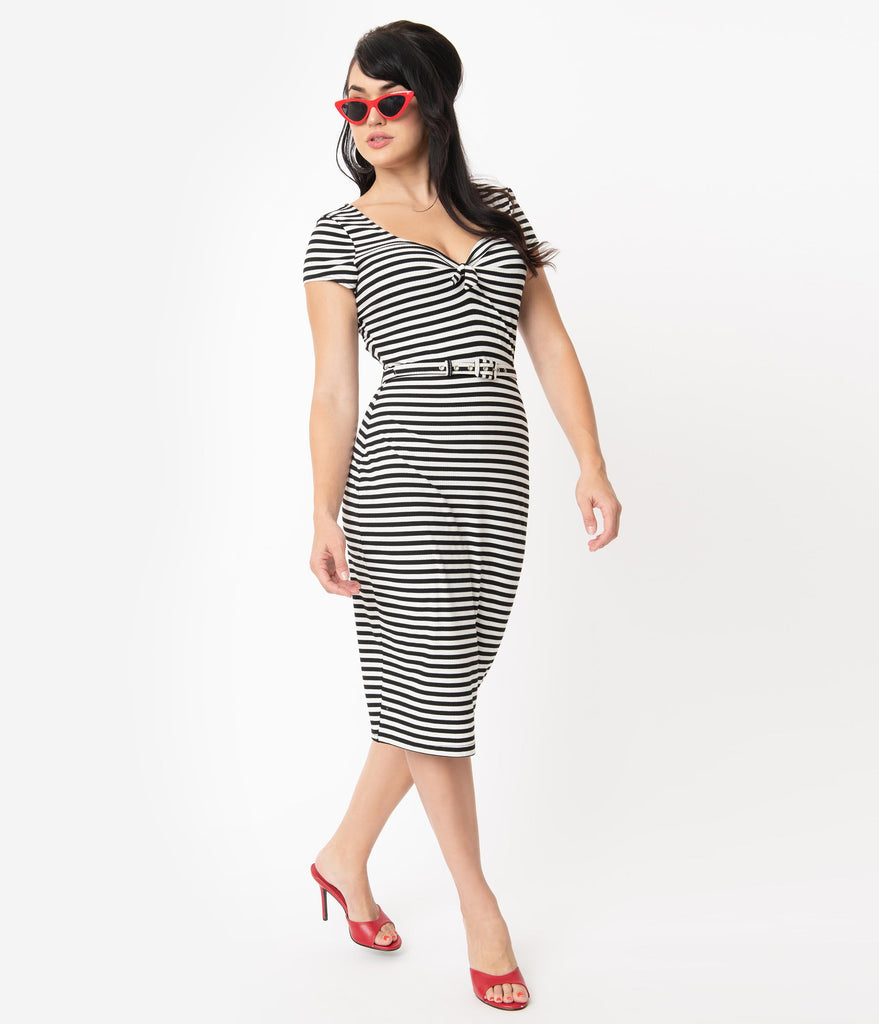 Unique Vintage 1950s Black & White Stripe Sweetheart Dianne Wiggle Dress
