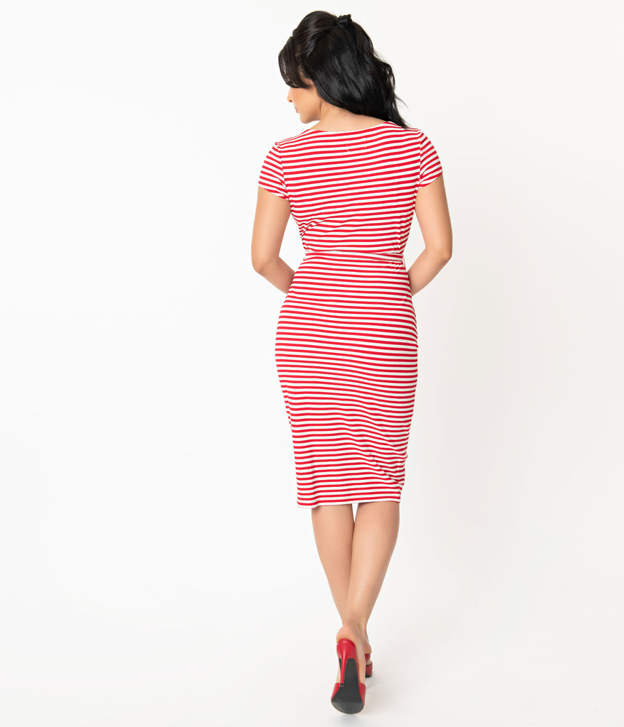Unique Vintage 1950s Red & White Stripe Knit Dianne Wiggle Dress