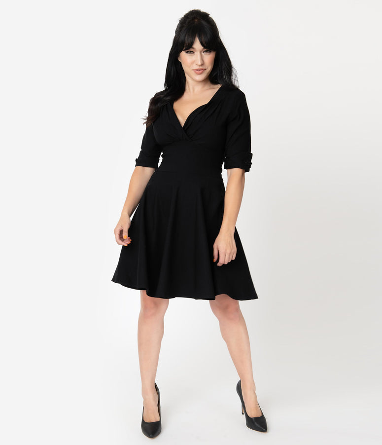 Unique Vintage 1950s Black Delores Fit & Flare Dress