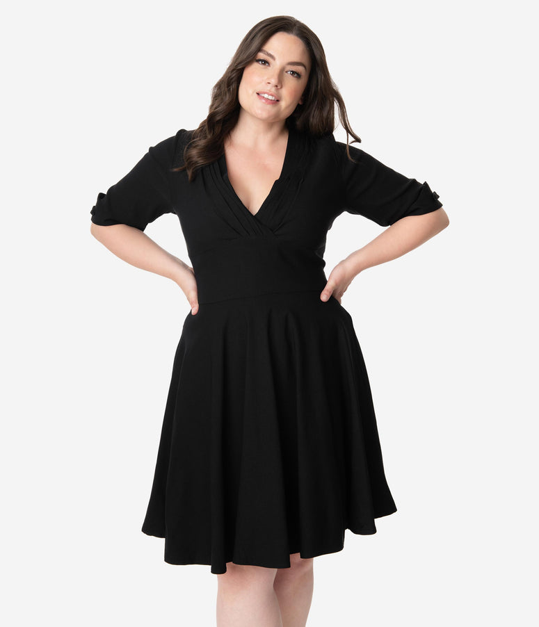 Unique Vintage Plus Size 1950s Black Delores Fit & Flare Dress