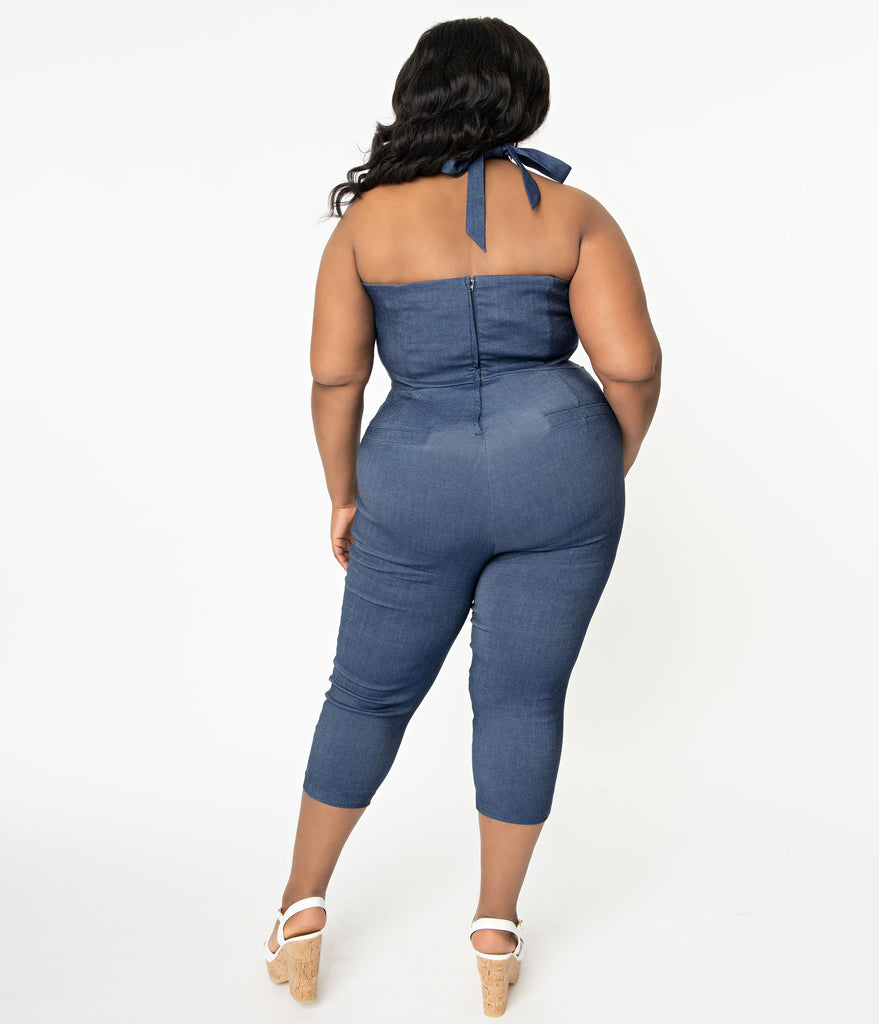 Unique Vintage Plus Size 1950s Blue Denim Marcel Cropped Jumpsuit