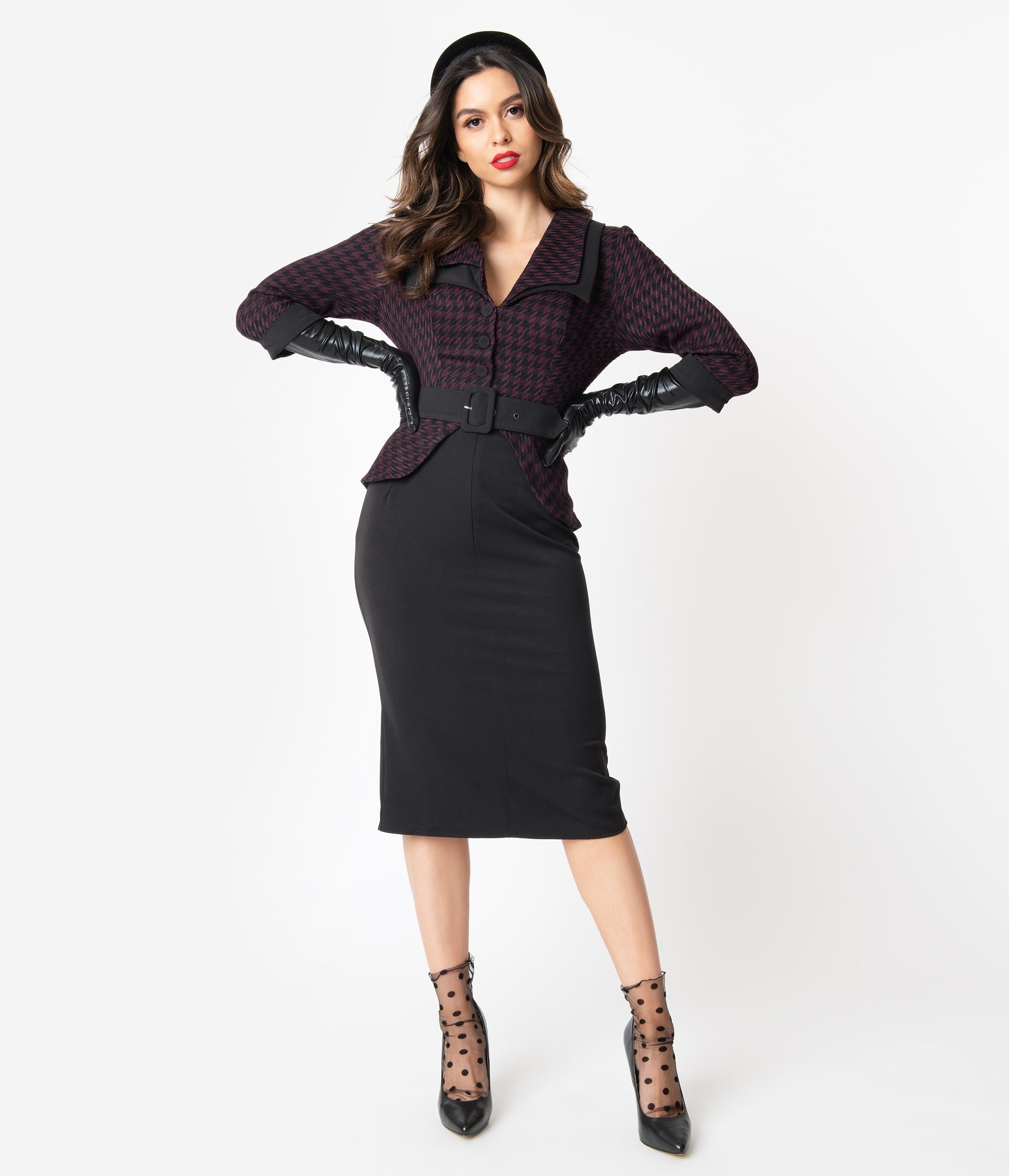 Women's 1940s Victory Suits and Utility Suits Miss Candyfloss 1940S Black  Purple Houndstooth Steffie Wiggle Dress $122.00 AT vintagedancer.com