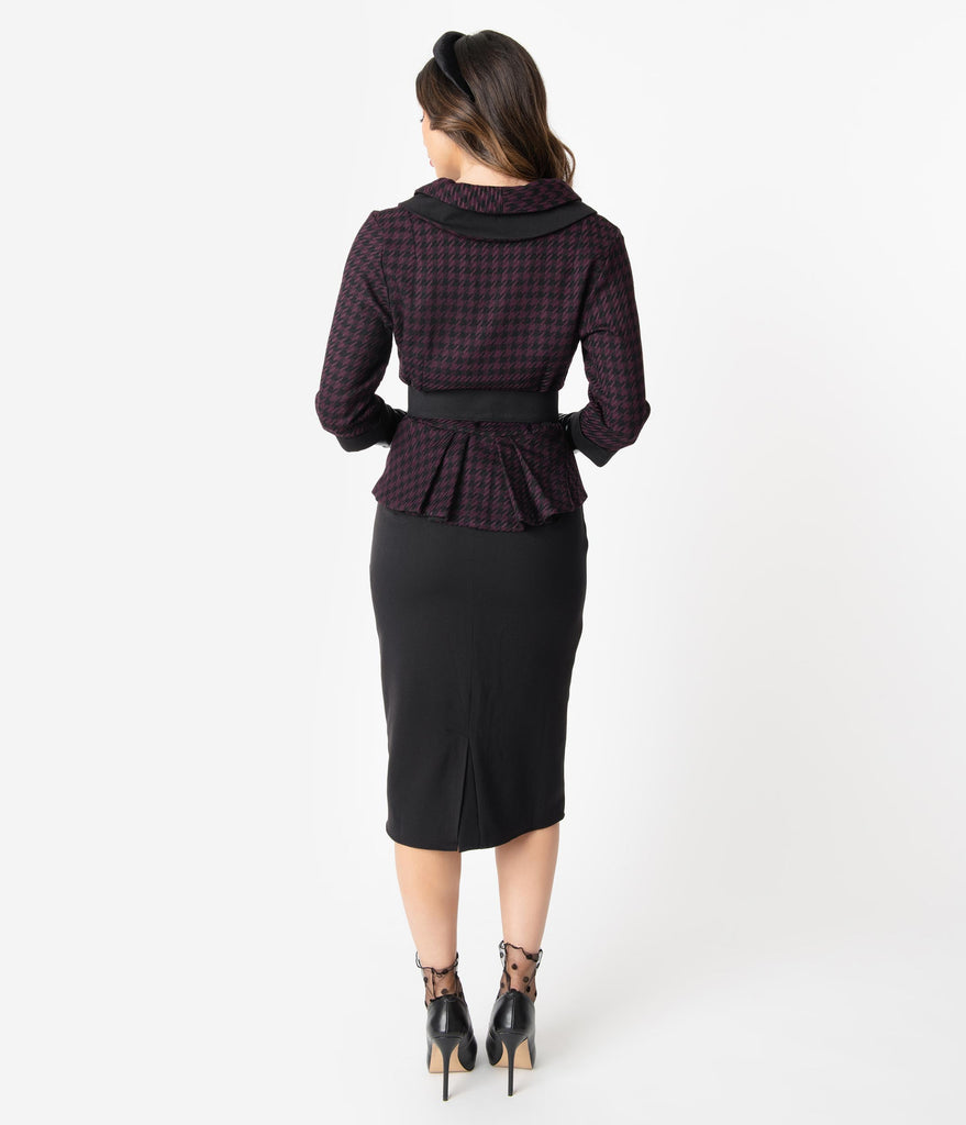Miss Candyfloss 1940s Black & Purple Houndstooth Steffie Wiggle Dress