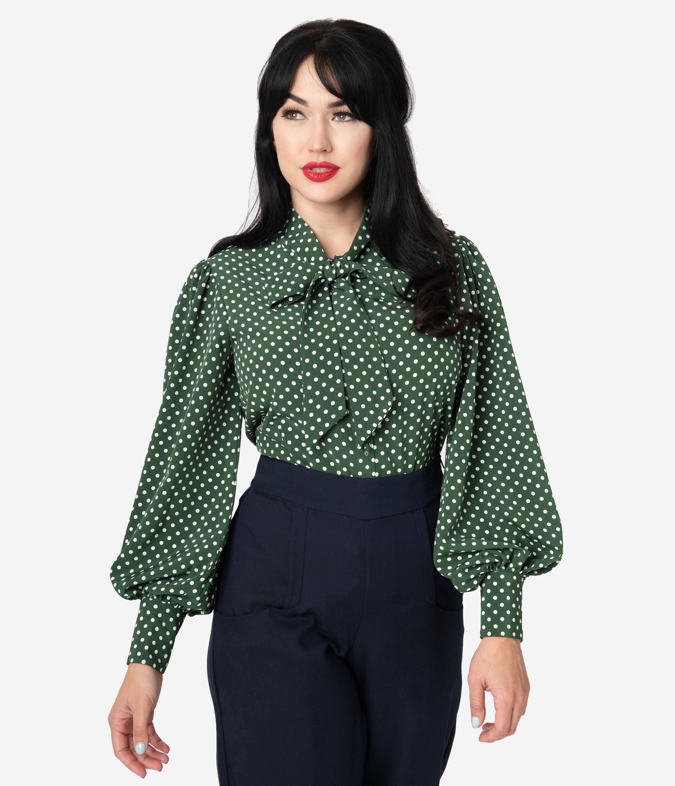 1950s Rockabilly & Pin Up Tops, Blouses, Shirts Unique Vintage Green  Ivory Polka Dot Crepe Neck Tie Gwen Blouse $58.00 AT vintagedancer.com
