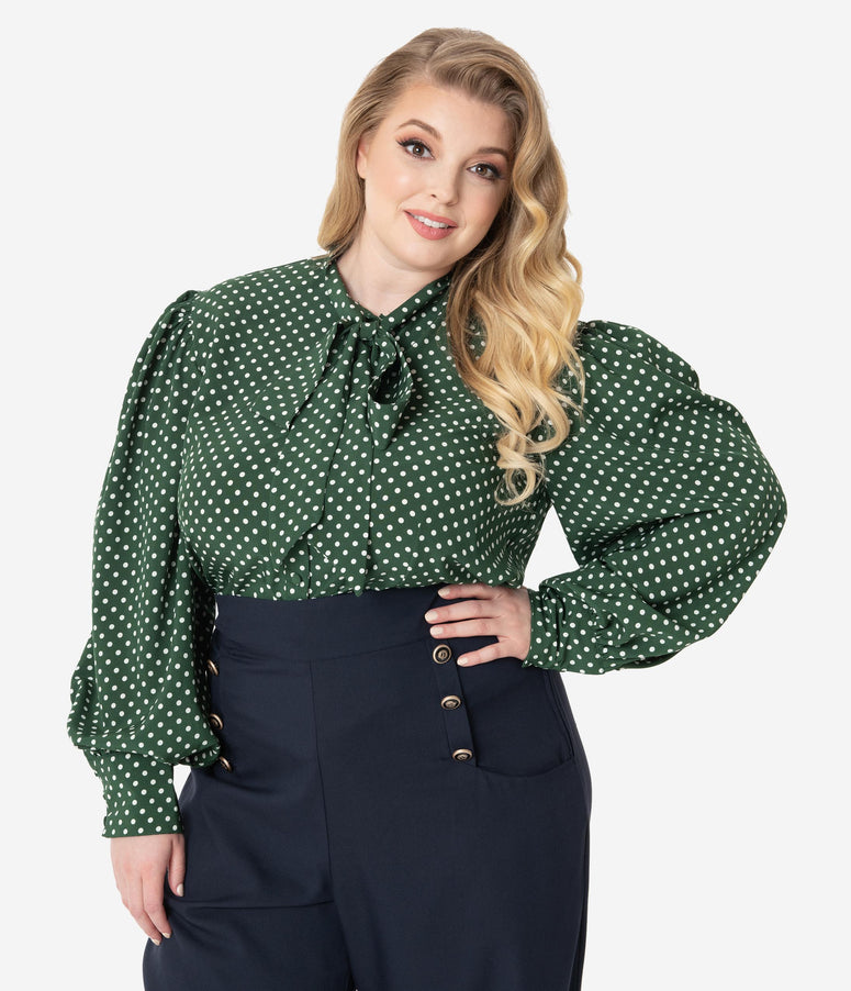 Unique Vintage Plus Size Green & Ivory Polka Dot Neck Tie Gwen Blouse