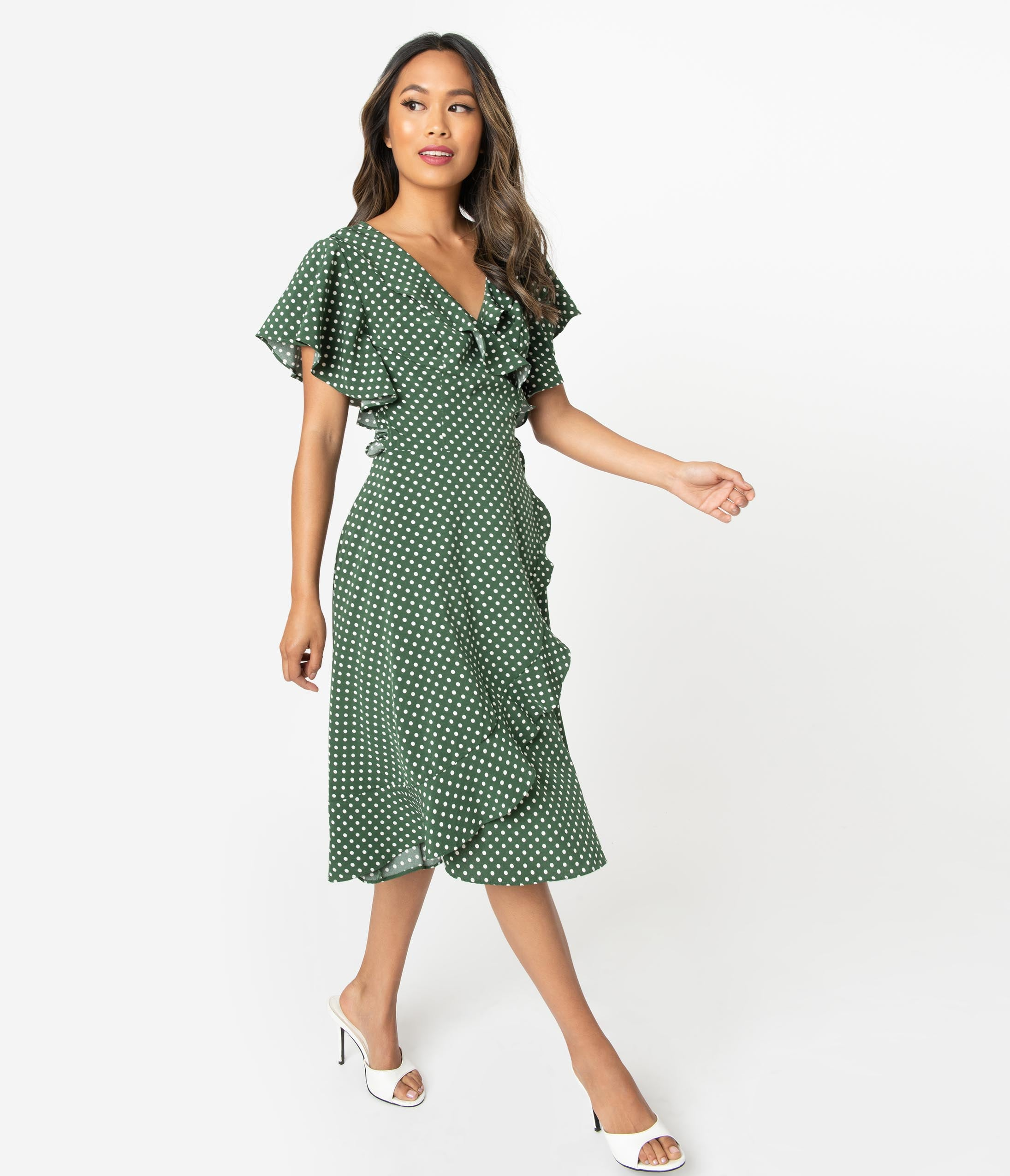 500 Vintage Style Dresses for Sale | Vintage Inspired Dresses Unique Vintage 1940S Green  White Polka Dot Luella Wrap Dress $78.00 AT vintagedancer.com