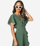 Unique Vintage 1940s Green & White Polka Dot Luella Wrap Dress