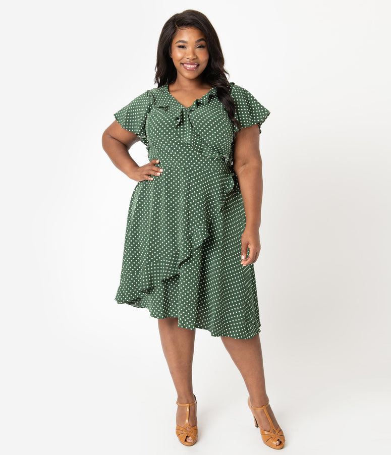 Unique Vintage Plus Size 1940s Green & White Polka Dot Luella Wrap Dress