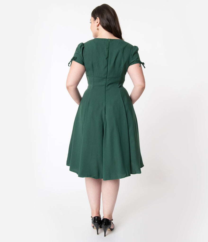 Plus Size 1940s Style Emerald Green & Black Embroidered Floral Ava Swing Dress