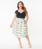 Unique Vintage Plus Size Mint Avocado Print Jayne Swing Skirt