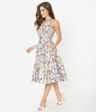 Unique Vintage Mint & Multicolor Print Halter Tarrytown Hostess Dress