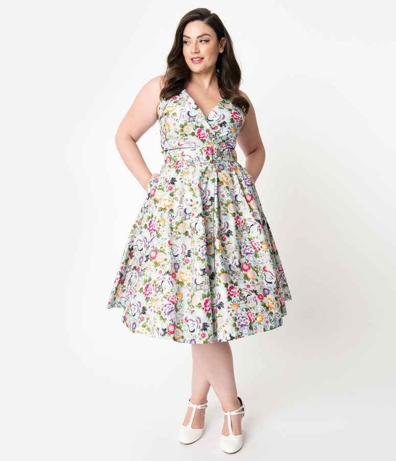 Unique Vintage Plus Size Mint & Multicolor Print Halter Tarrytown Hostess Dress