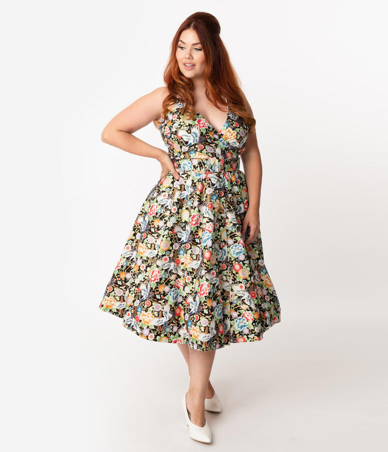 Unique Vintage Plus Size Black & Multicolor Print Halter Tarrytown Hostess Dress