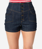 Unique Vintage Blue Denim High Waist Button Up Suzy Shorts