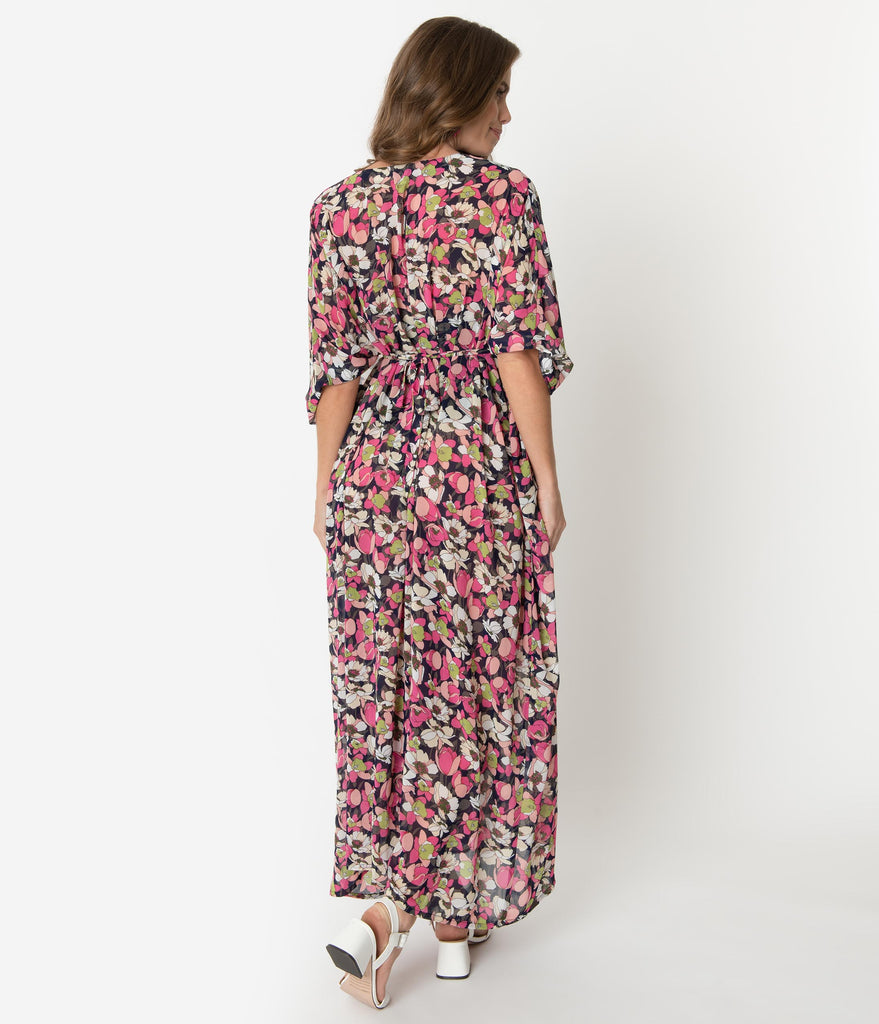 Unique Vintage 1970s Pink & Ivory Floral Chiffon Liz Caftan Dress
