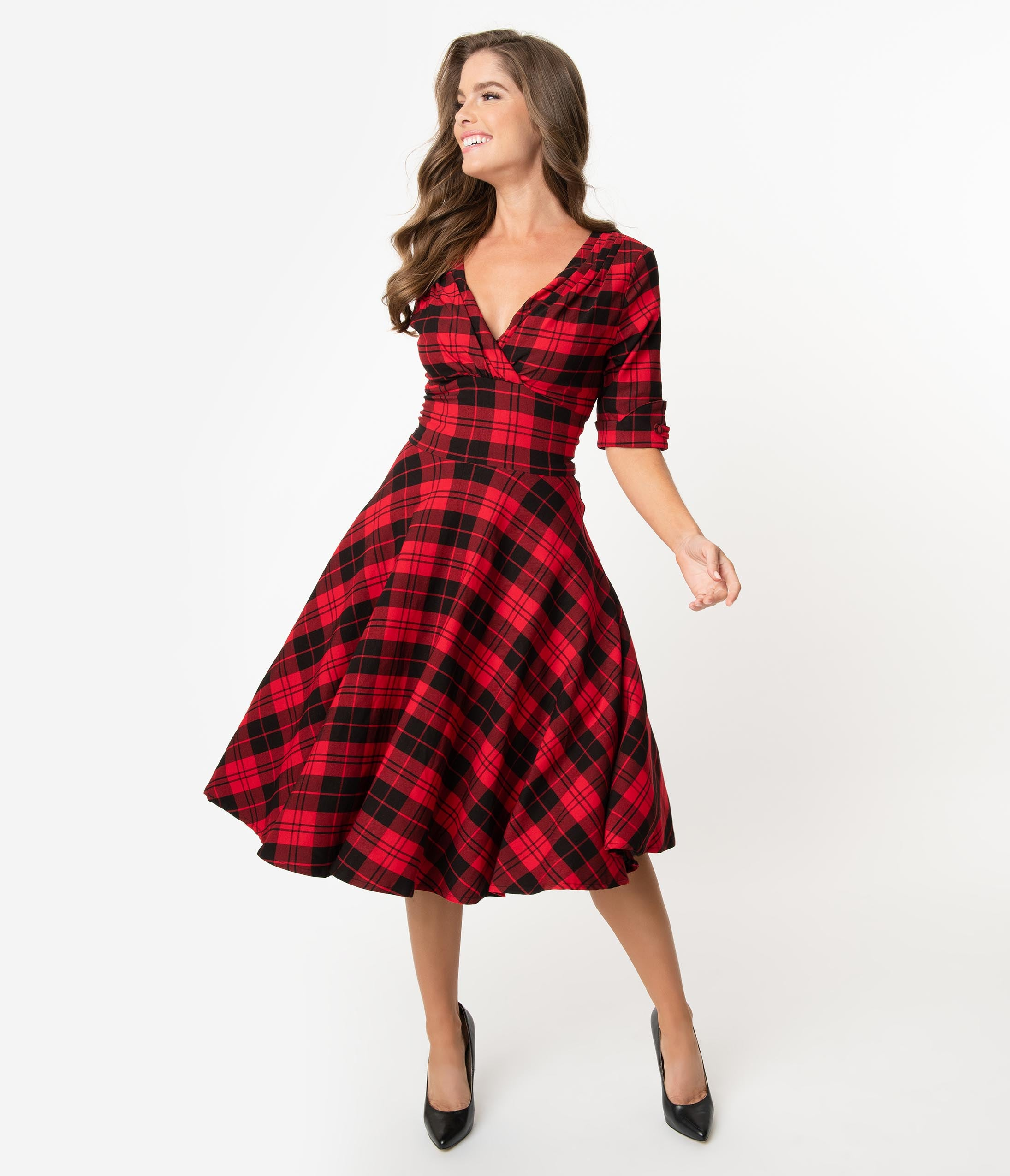 Pin Up Dresses | Pinup Clothing & Fashion Unique Vintage 1950S Red  Black Plaid Delores Swing Dress With Sleeves $98.00 AT vintagedancer.com