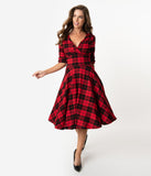 Unique Vintage 1950s Red & Black Plaid Delores Swing Dress with Sleeves