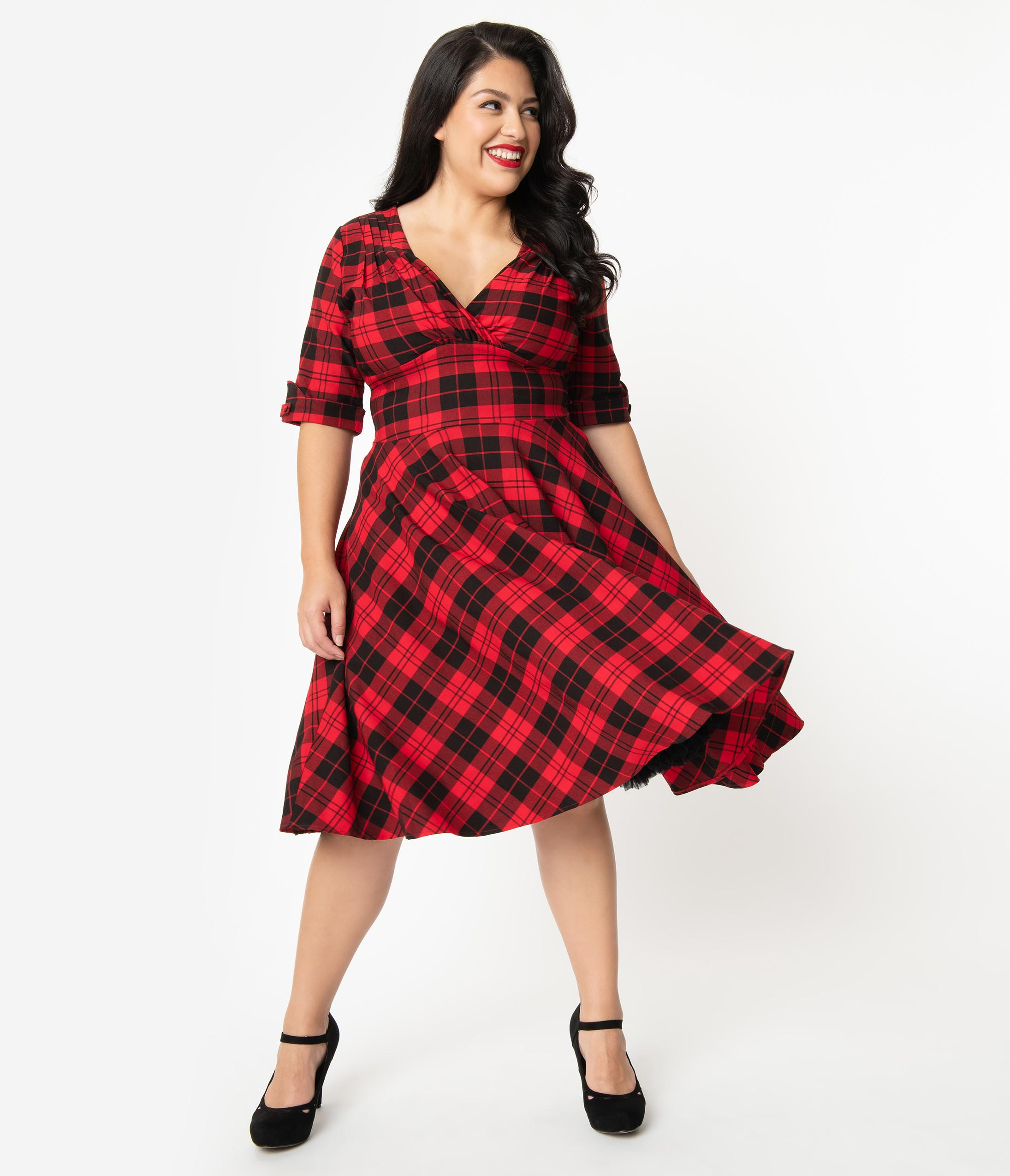 1950s Plus Size Fashion & Clothing History Unique Vintage Plus Size 1950S Red  Black Plaid Delores Swing Dress With Sleeves $98.00 AT vintagedancer.com