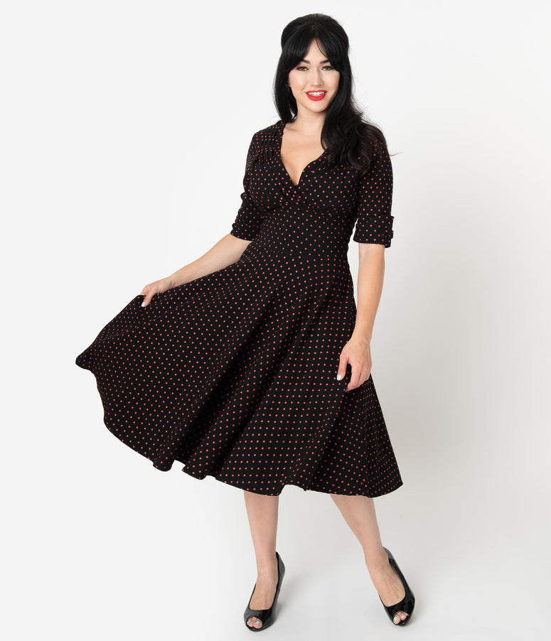 Unique Vintage 1950s Black & Red Pin Dot Delores Swing Dress with Sleeves