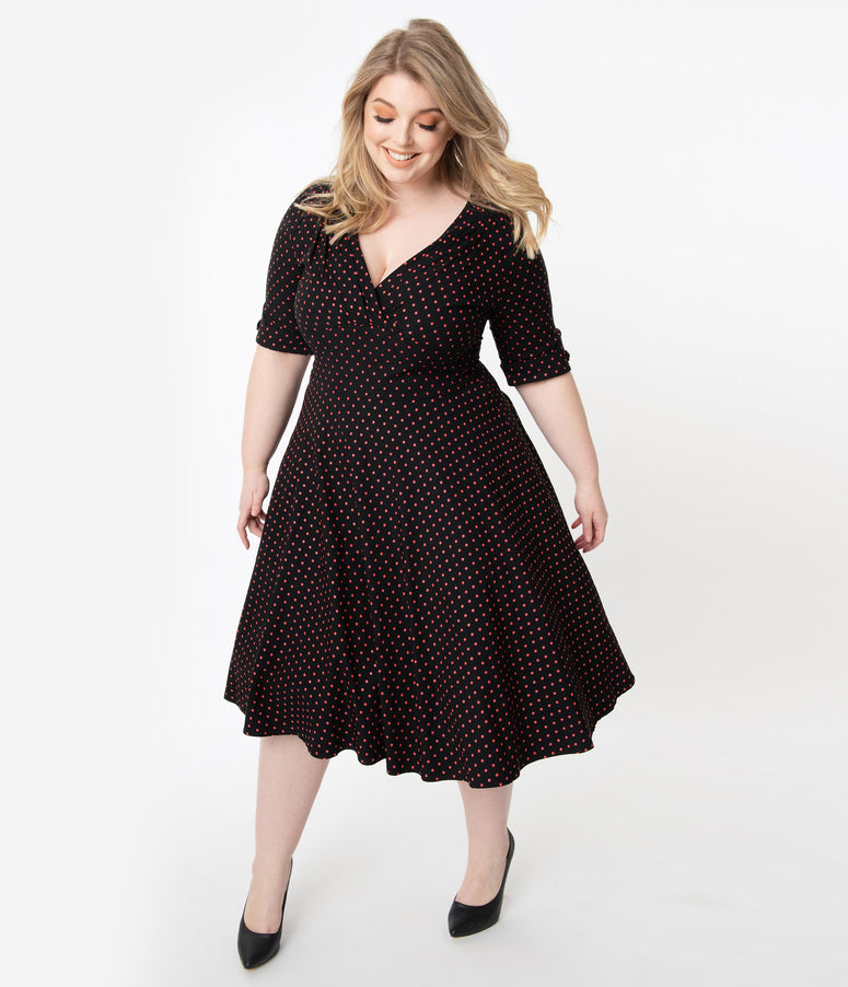 Unique Vintage Plus Size 1950s Black & Red Pin Dot Delores Swing Dress with Sleeves