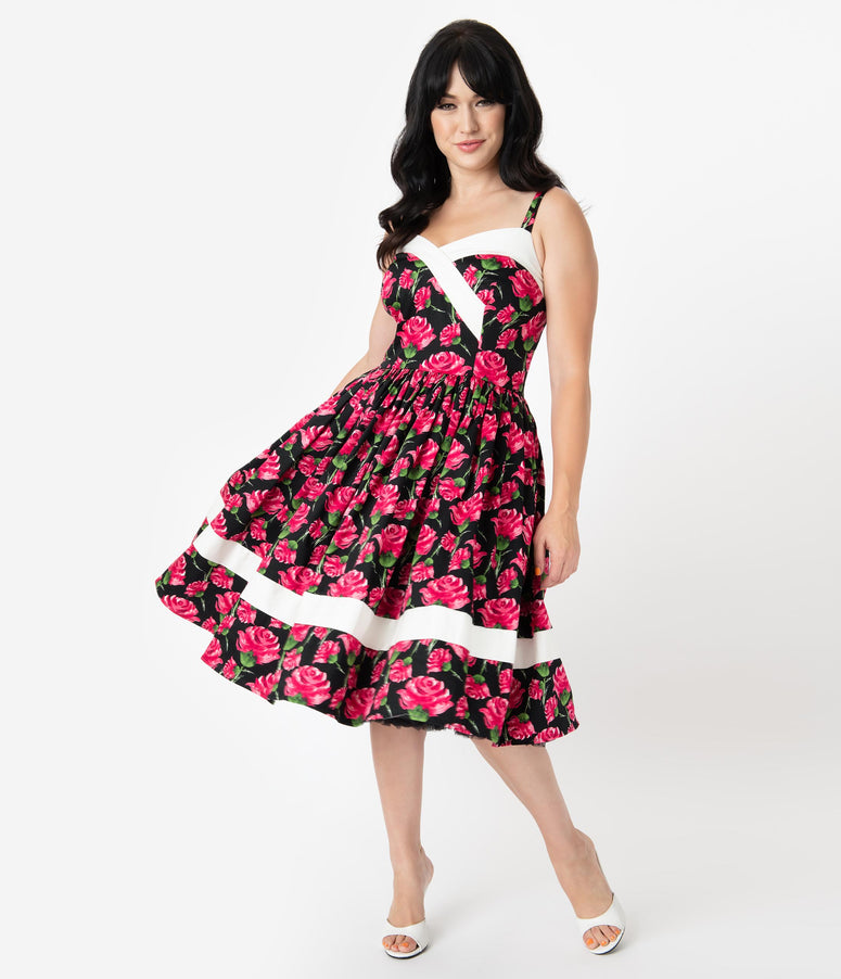 Unique Vintage Black & Pink Floral Print Darienne Swing Dress
